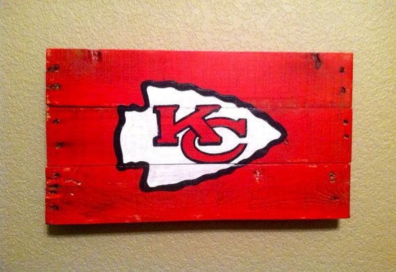 Kansas City Chiefs arrowhead sign, handpainted, recycled wood