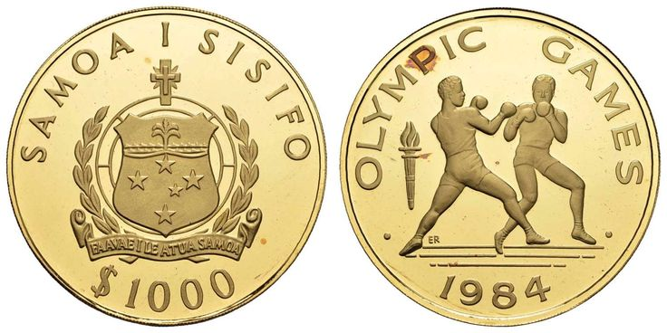 Australia, New Zealand and the Pacific Islands - Western Samoa Republic, 1. 000 $, 1984, XXIII. Summer Olympic Games in Lot-Angeles, boxing match, minimal gold patina, only at a max 100 pieces embossed, Fried. 16 KM 61 nice 61, RR, PP