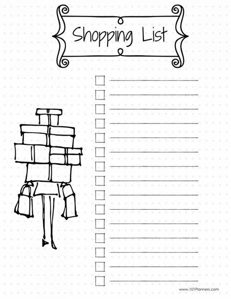 shopping list - create this page or unlimited others with the free Bullet Journal app.
