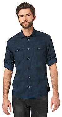Chemise au style militaire Pour hommes (imprimé, manches longues, col Kent et patte de boutonnage) - TOM TAILOR