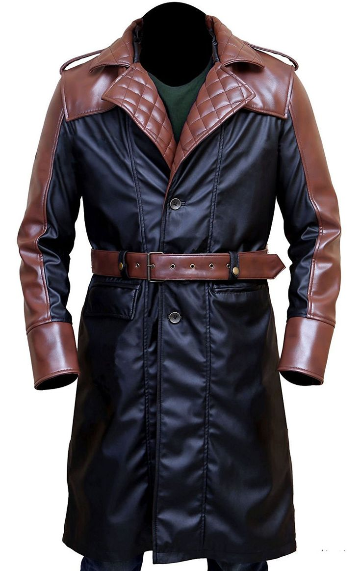 Trench Mens Winter Coats Amazon Best Seller Jacob Frye Assassin's Creed Syndicate Men's Brown and Black Faux Leather Trench Coat