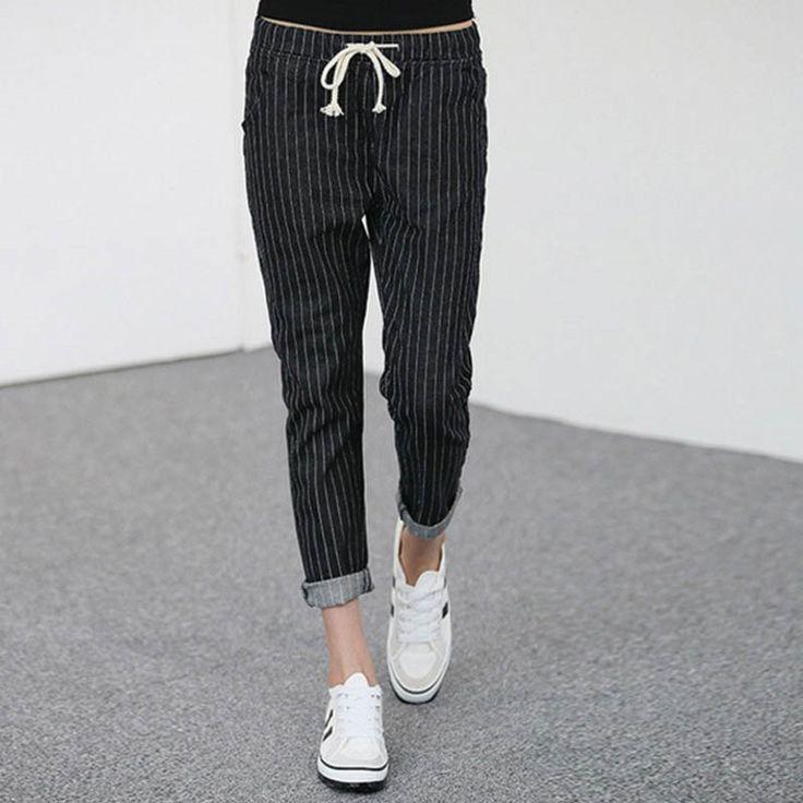 26.99$  Watch now - https://alitems.com/g/1e8d114494b01f4c715516525dc3e8/?i=5&ulp=https%3A%2F%2Fwww.aliexpress.com%2Fitem%2FPants-WM11%2F32673557930.html - 2016 New Style Women's Striped Jeans Casual Elastic Waist Slim Denim Pencil Pants Plus Size 5XL Black WM11