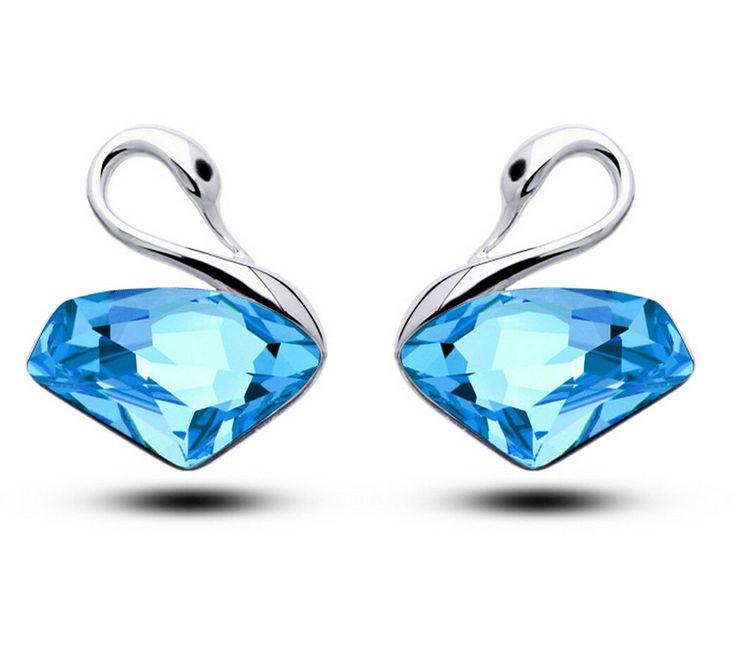 Купить товарЖенщины модные ювелирные изделия синий посеребренные кристалл Лебедь Серьги Стержня Женский Brincos Pendientes Orecchini Ohrringe в категории Серьги-гвоздикина AliExpress.