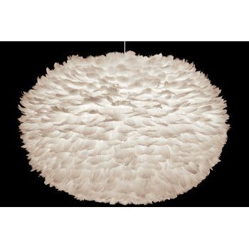 Vita Eos Extra Large Ceiling Light Shade White Feathers Lamp Shade 75x45cm