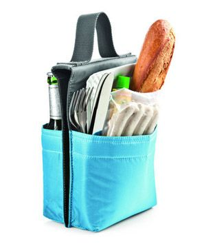 Bicycle picnic: Picnic for 2 Bike Bag: Handy weather-resistant carry-all holds everything you need to dine al fresco and fits right over your bike's crossbar. #velojoy
