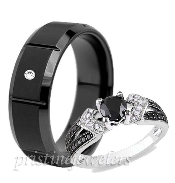 His Hers Pave 925 Sterling Silver Wedding Mens Tungsten Black Cz Ring 2pc Set