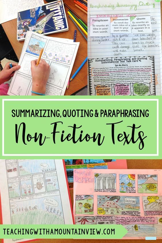 Summarizing Paraphrasing And Quoting Text Teaching With A Mountain View Activitie Nonfiction Reading Elementary 11 What Word Mean Almost The Same Paraphrase