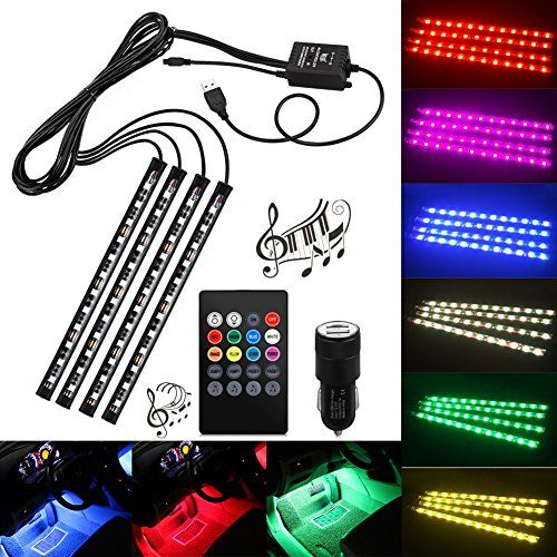 Car led strip lightshuitomo 4pcs 48 led multicolor music car car led strip lightshuitomo 4pcs 48 led multicolor music car interior light led under dash lighting waterproof kit with sound active function and aloadofball Image collections