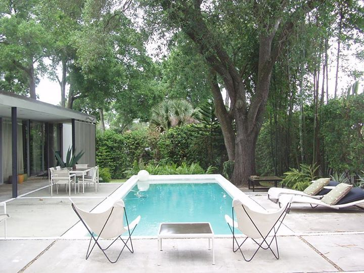 rectangle mid century pool with nice patio