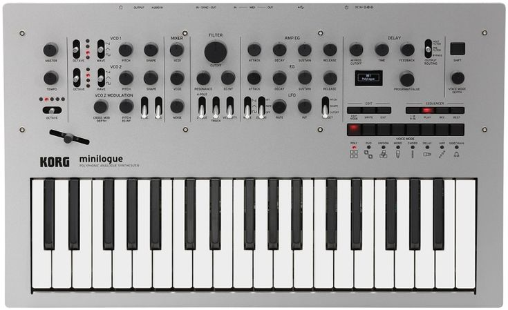 4-voice Analog Synthesizer with 2 Oscillators Per Voice, Switchable 2-/4-pole Lowpass Filter, Onboard Tape-delay Emulation, 16-step Sequencer, 8 Voice Modes, and MIDI and Sync I/O
