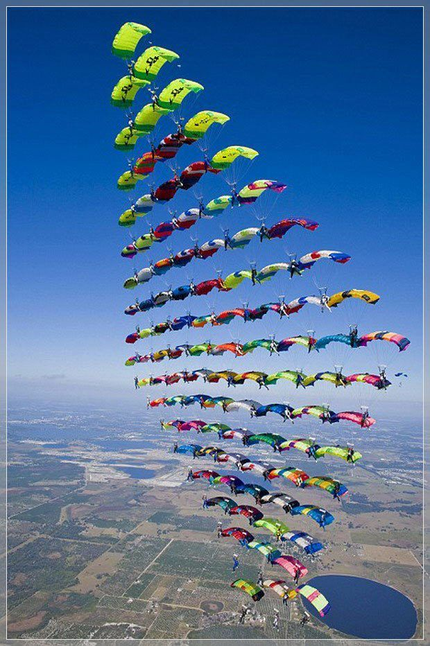 Composition - Formation composition in this photo is that the skydivers are grouped together to form a shape.