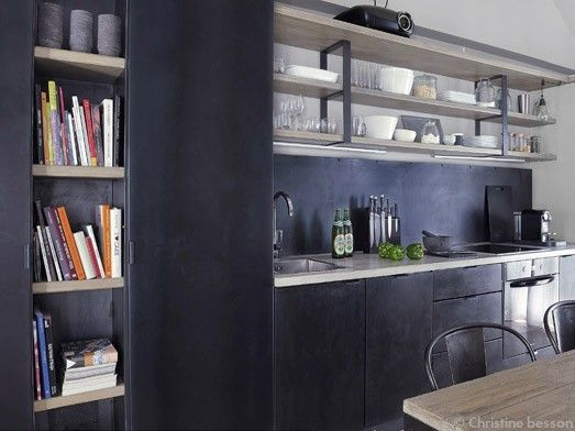 Kitchen realised with patina steel and whitened oak. Bravo David Gaillard!