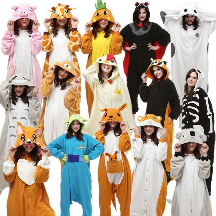Adults Halloween Carnival Costumes Onesie Kigu Alien Bat Carrot Cock Dog Giraffe Hamtaro kangaroo Koala Raccoon Rilakkuma Skull #Affiliate