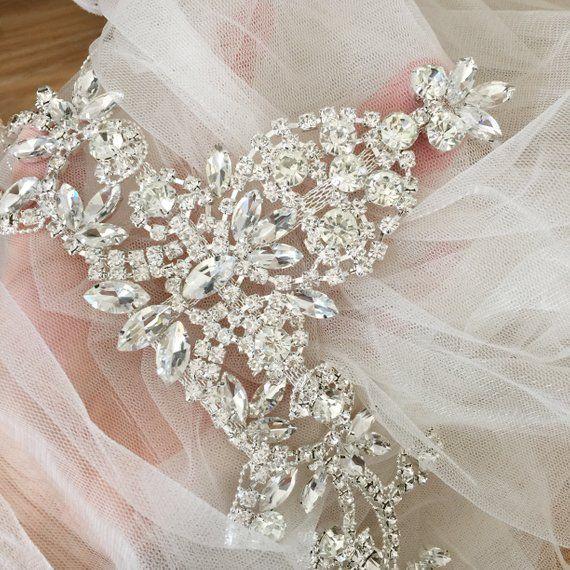 Exquisite Rhinestone Beaded Bridal Lace Applique For Wedding Sash