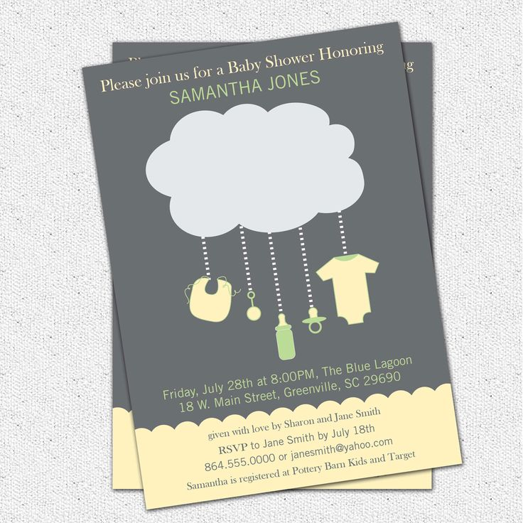 Printable Rain Cloud Baby Shower Invitation, Gender Neutral Green, Yellow and Grey DIY Digital File by OhCreativeOne on Etsy https://www.etsy.com/listing/80865105/printable-rain-cloud-baby-shower