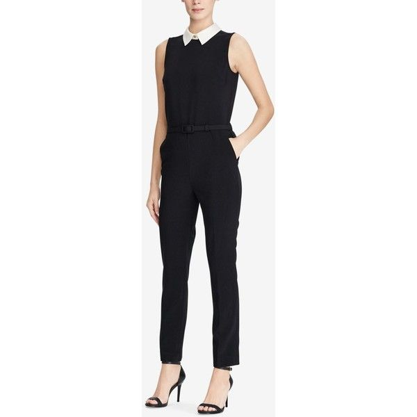Lauren Ralph Lauren Contrast Jumpsuit ($168) ❤ liked on Polyvore featuring jumpsuits, polo black, jump suit, polo jumpsuit and lauren ralph lauren