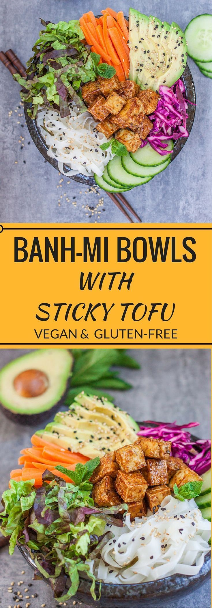 These Bank-Mi bowls with sticky tofu are a take on the traditional Vietnamese…