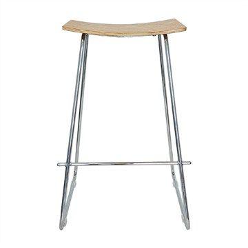 Porter Commercial Grade Chrome Frame Stool - Natural Oak Seat