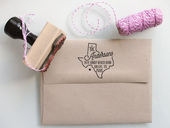 Custom Texas State Return Address Stamp, perfect gift for holidays, housewarming parties and weddings or as Business Card by mysplendidsummer