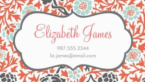 60 best girly damask business cards images on pinterest business stylish gray mint and coral retro floral damask business cards http reheart Gallery