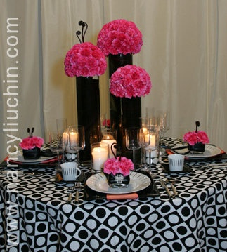 pink & black table