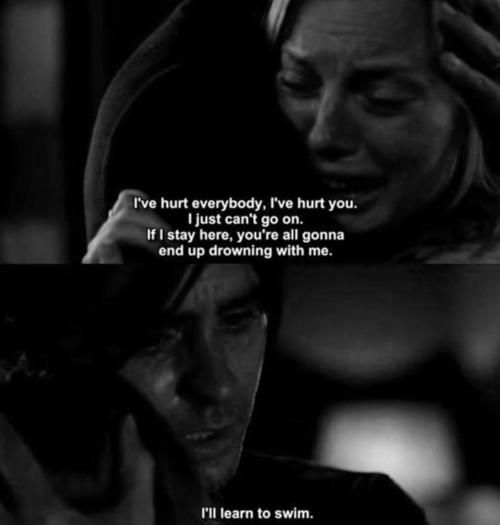 Mr. Nobody. This part pissed me off, but made me sad at the same time. Here is this woman, his wife, whom Nemo (Jared Leto) loves immensely, and she just can't accept him. :(