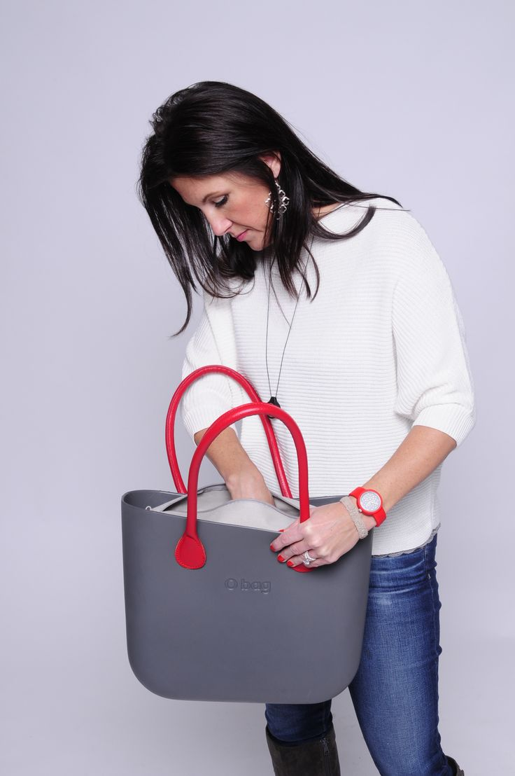 Steel Grey O Bag OBDY29 + Grey Canvas Inner Bag OBCV04 + Long Red Eco Leather OBHF08