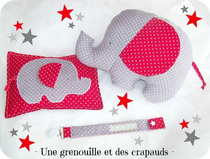 Baby box l'éléphant Alphonse, bouillotte sèche et attache tétine pois gris et rouge