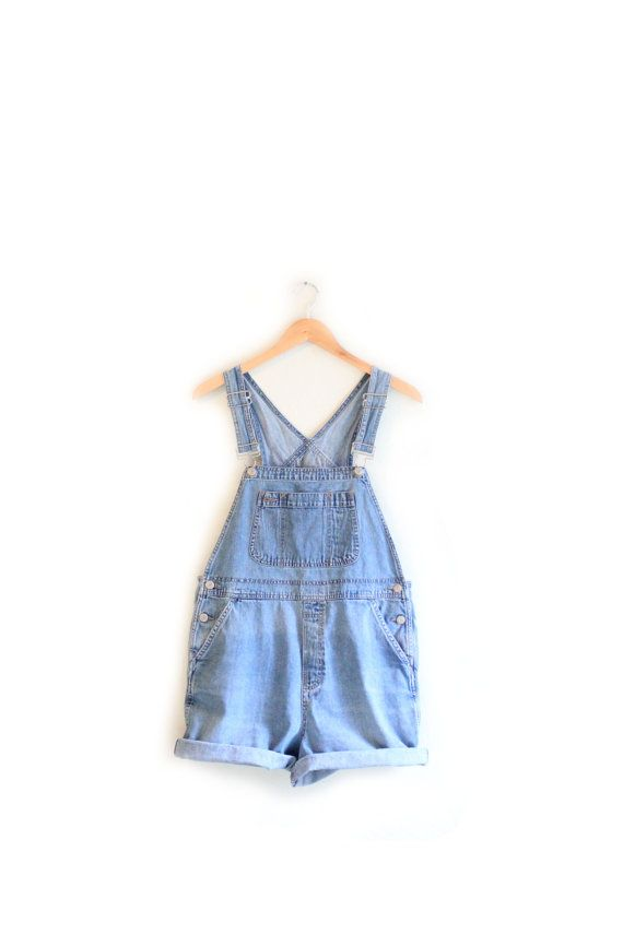 17e615141a9 Vintage Blue Denim Overall Shorts - 90s Gap Bib Jean Overalls - M ...
