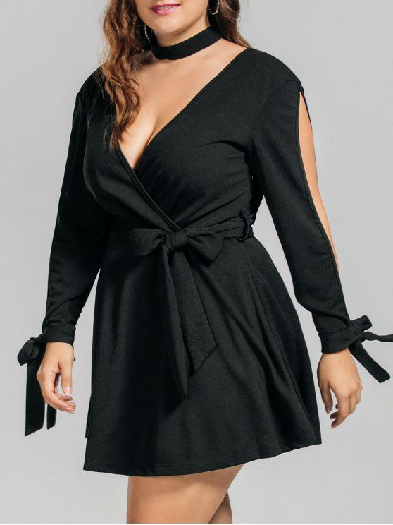 AD : Plus Size Belted Split Sleeve Surplice Dress - BLACK   Style: Brief   Material: Polyester   Silhouette: A-Line   Dresses Length: Mini   Collar-line: V-Collar   Sleeve Type: Split Sleeve   Sleeves Length: 3/4 Length Sleeves   Pattern Type: Solid   With Belt: Yes   Season: Summer   Weight: 0.5900kg   Package: 1 x Dress 1 x Belt