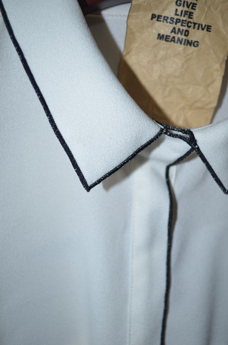 White Shirt with contrasting edge stitch - sewing techniques; fashion design detail // GONE AW14--SERGED EDGE