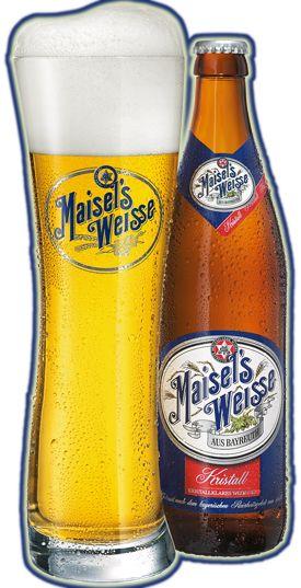 Cerveja Maisel's Weisse Kristall, estilo German Kristallweizen, produzida por Gebrüder Maisel Bayreuth, Alemanha. 5.1% ABV de álcool.