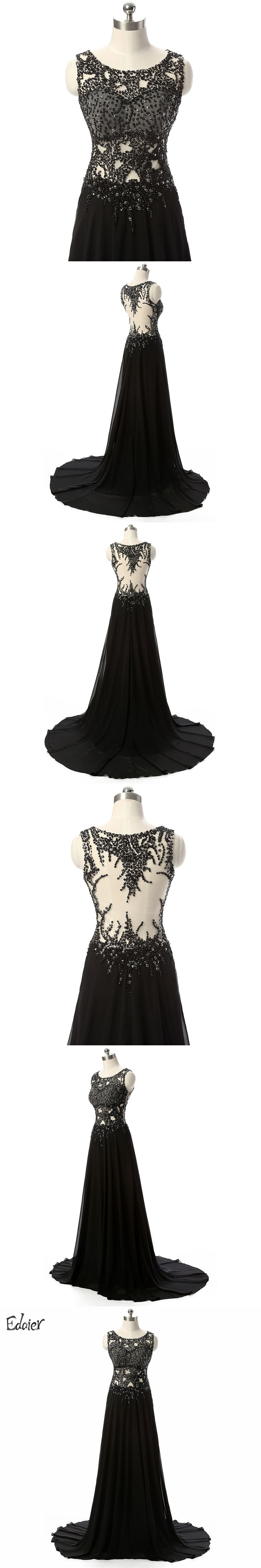 Edaier Long Black Evening Dresses 2017 A Line Scoop Beaded Sequined Prom Dress Sheer Back Chiffon Evening Gown Vestido De Festa