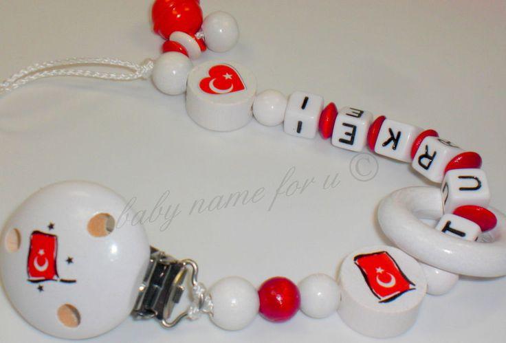 Schnullerkette mit Namen ♥ Türkei  ♥ Länderfarben ♥   Flagge ♥