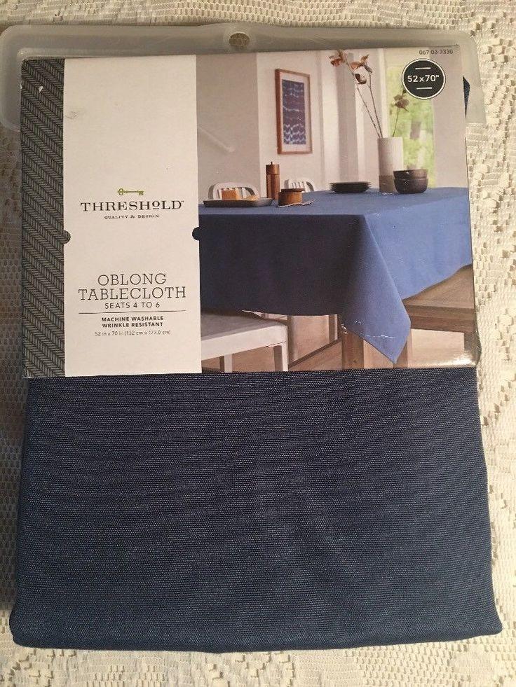 "Threshold Oblong Tablecloth Seats 4 to 6 52"" x 70"" - Dark Blue - NEW    eBay"