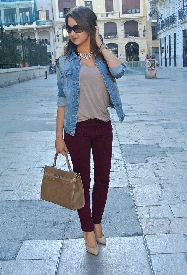 maroon pants. minus the jean jacket. add blazer and chunky necklace. sold!