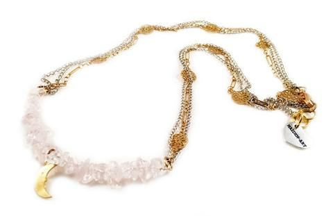 Rose quartz and moon charm choker necklace. Perfect for parties, summer time and gift for her.