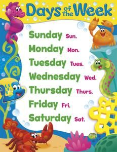 Days of the Week Sea Buddies™ Learning Chart