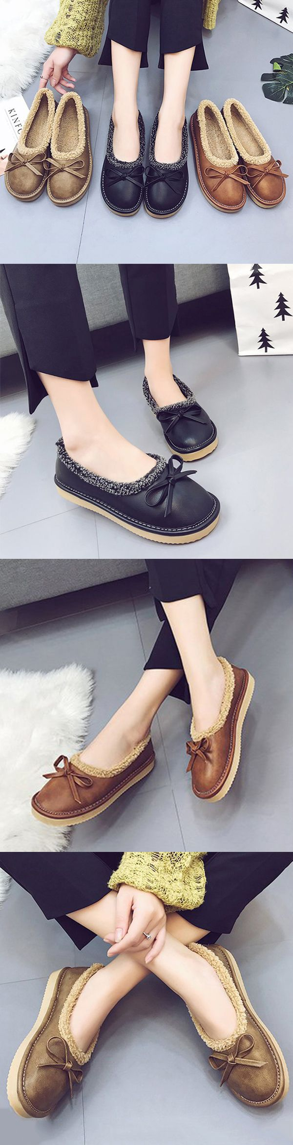 US$18.66  Plush Leather Mother Footwear Flat Loafers
