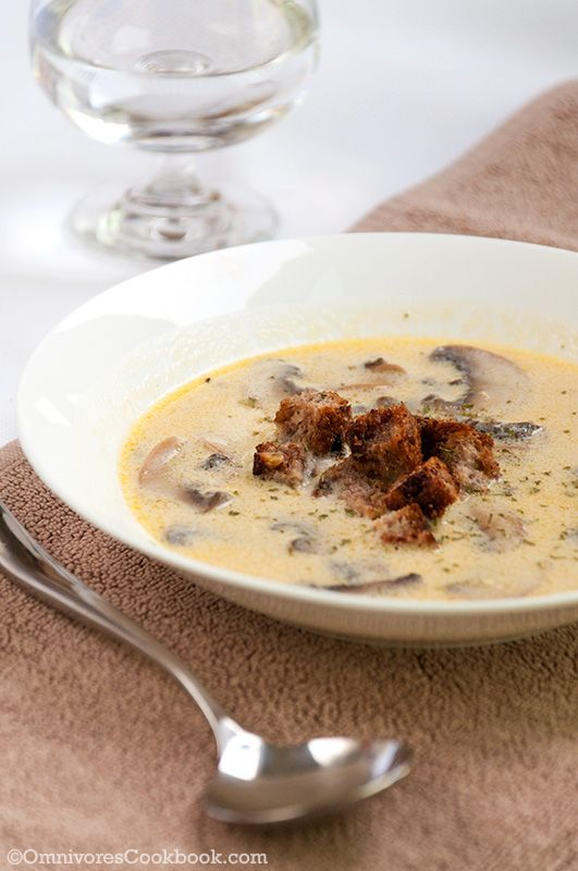 Julia Child's Cream Mushroom Soup Recipe with step by step image | http://omnivorescookbook.com/