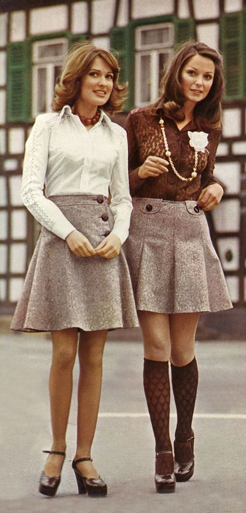 1974 ~ I had an outfit almost exactly like the one on the left - right down to the shoes.  I LOVED those shoes.