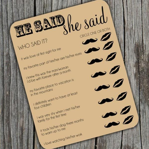 Tip of the Day: Fun games arent just for bridal showers! Help guests break the ice during cocktail hour or the reception with this Who Said It? trivia card. This game is brilliant because everyone can take a guess and play, even friends dates who may not know the bride and groom very well.