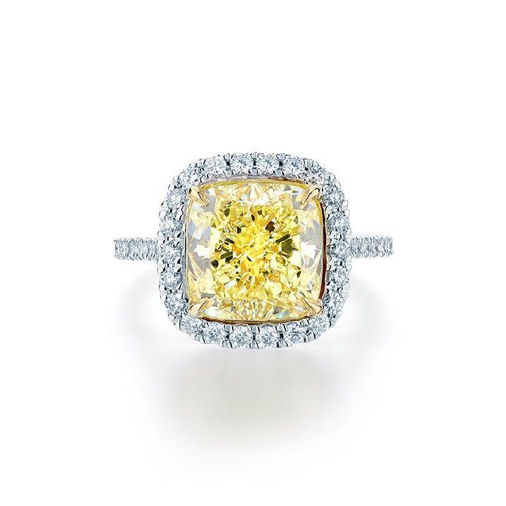 Fancy Yellow Cushion Diamond Halo Ring