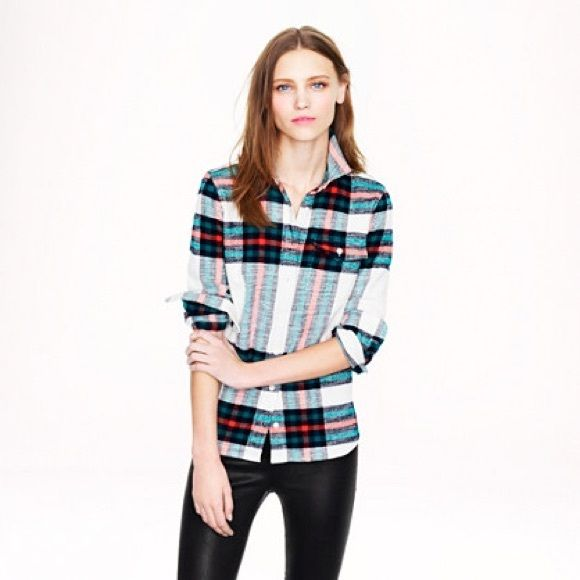 J. Crew rock salt plaid flannel From factory. Well loved. Material is showing little wear as pictured. Still awesome. Impossible to find. Price firm. J. Crew Tops Button Down Shirts