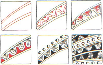 Deco Border Zentangle pattern by Suzanne McNeill CZT