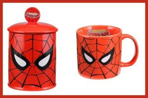 Marvel Comics Spiderman Face Ceramic Cookie Jar and Coffee Mug Bundle http://theceramicchefknives.com/marvel-gift-ideas-amazing-spiderman/