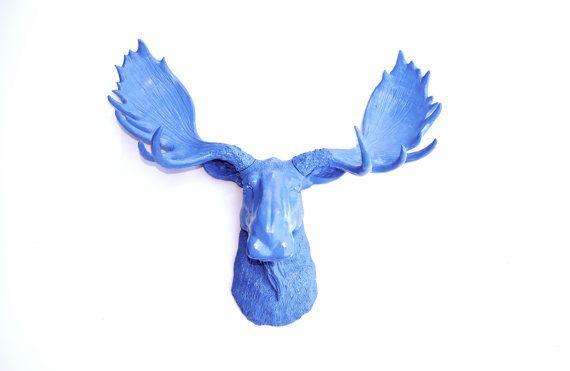 Staffordshire Blue Moose Head  Faux Taxidermy Moose by NearAndDeer, $89.99
