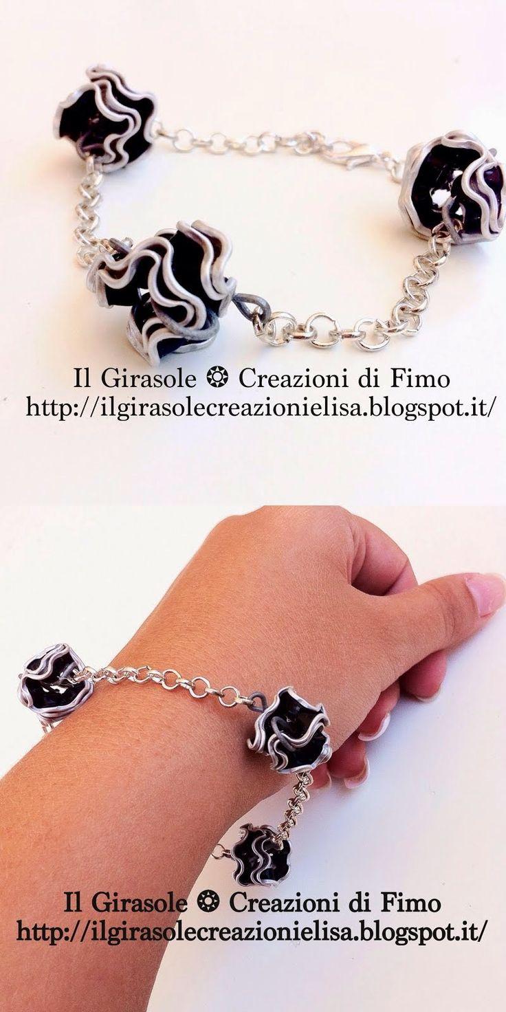 Il Girasole ❂  Creazioni di #Fimo: #Bracciale con #catena matellica e perle in #alluminio #Nespresso  #cialde #handmade #caffè #bracelet #riciclocreativo