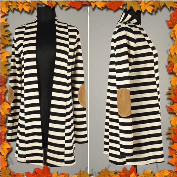 BOGO FREE Last M! Brand new. Black Striped Knit Cardigan with Fold Out Open Front Featuring Faux Suede Elbow Patches.  MADE IN U.S.A. 92% Polyester, 8% Spandex. Measurement Approximately 30 inches from Shoulder to Hem. Size medium. Boutique Sweaters Cardigans