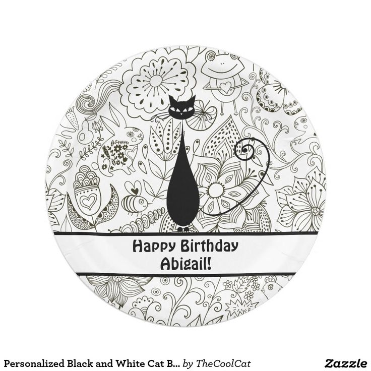 Personalized Black and White Cat Birthday Plates  sc 1 st  Pinterest & 1002 best CUSTOM PAPER PLATES Personalized For Parties images on ...